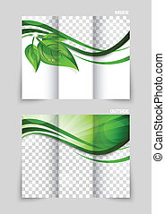 Tri-fold brochure template design with green leaves