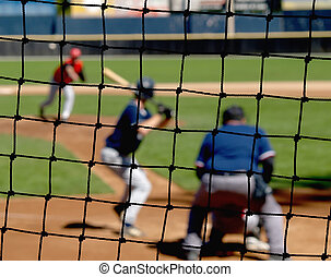 Baseball Backstop Net - A baseball net protecting viewers...