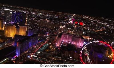 Vegas Aerial High Roller Bellagio - Las Vegas Night Aerial...