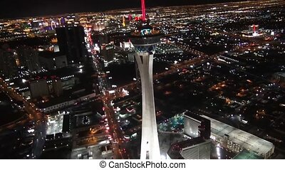 Aerial Las Vegas Strip Night Shot of Stratosphere Aerial Las...
