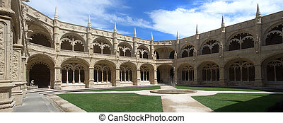 Cloister of Jeronimos monastery in Bel�m, Lisbon,...