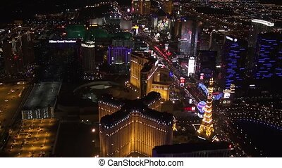 Aerial Las Vegas Strip Night Shot Facing South from Cosmo,...