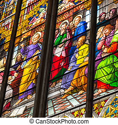 COLOGNE, GERMANY - AUGUST 26: Stained glass church window...