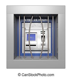 Atm machine with open prison bars isolated on white