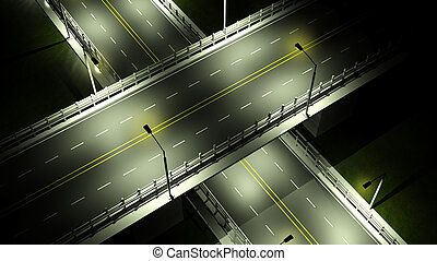 Highway with overpass bridge at night with lights closeup