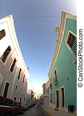 Old street in San Juan, Puerto Rico - Steet view of the main...