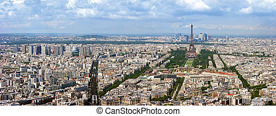 Paris aerial panorama - Paris aerial panoramic view from...