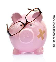 quebrada, óculos,  piggy, banco, faixa