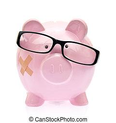 óculos,  piggy, banco, faixa