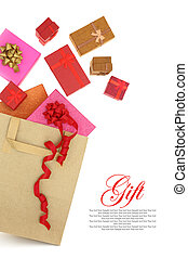 Gift boxes coming out of a shopping bag