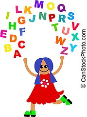 alphabet juggle - Cute cartoon girl juggling letters of the...