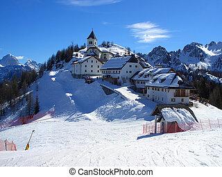 Top of mount Lussari - Village on top of mount Lussari in...