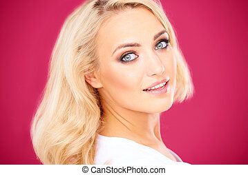 Beautiful blond woman with a gentle smile