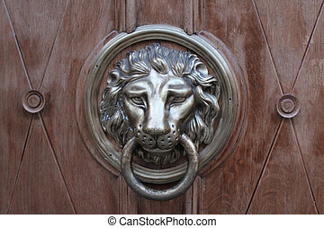 door-handle in shape of lion - red tanned door-handle in...