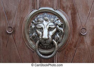 door-handle in shape of lion - red tanned door-handle in...