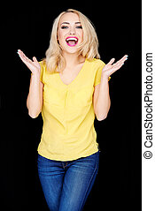 Laughing happy blond woman