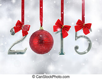 2015 number ornaments hanging on red ribbons in a glittery...