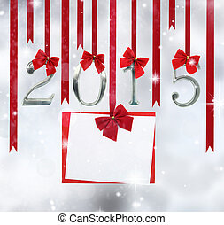 2015 number ornaments and greeting card hanging on red...