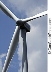 wind turbine in the blue sky, SaarlandGermany