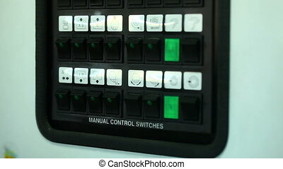 View of manual control switches, close-up