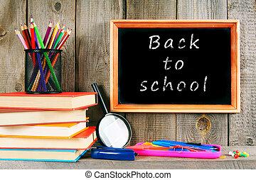 escuela, Libros, herramientas, escuela, espalda