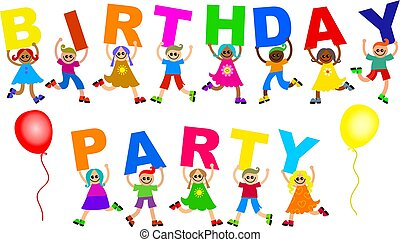 birthday party - Group of happy and diverse children holding...