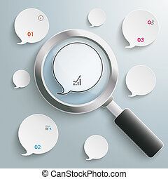 Loupe Speech Bubbles - Loupe with white speech bubbles on...