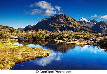 Lake at the Key Summit, New Zealand - Small lake at the Key...
