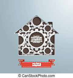 House Hole White Gears - House hole with white gears and...