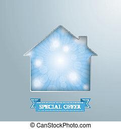 House Hole Silver Background Blue Sky - House hole with blue...