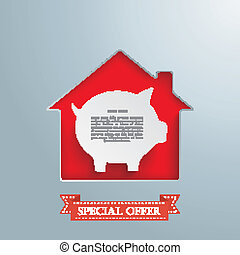 House Hole Silver Background Piggy Bank - House hole with...