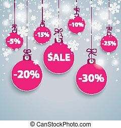 Snow Background Purple Baubles Sale