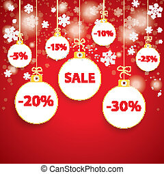 Snow Red Background White Baubles Sale