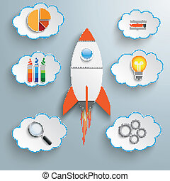 Bulb Startup Clouds With Icons - Bulb with rocket and clous...