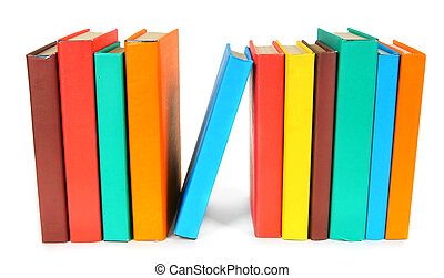 Multi-coloured books. On white background. - Multi-coloured...