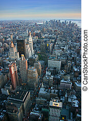 Aerial view over lower Manhattan, New York - Aerial view...