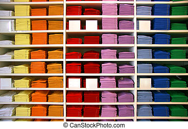 Polo shop - Colored polo shirts on display in a shop Blank...