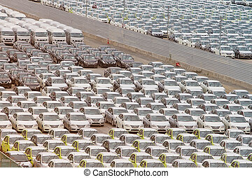 Samut Prakan,Thailand -24 August,2014:Row of new vehicles...