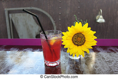 Sunflower - Picture of beautiful sunflower and glass of...