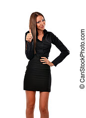 Business woman giving thumbs up - Attractive business woman...