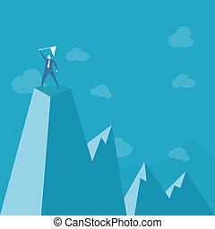 businessman standing on peak mountain