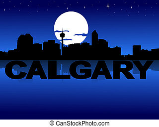 Calgary skyline reflected with text and moon illustration