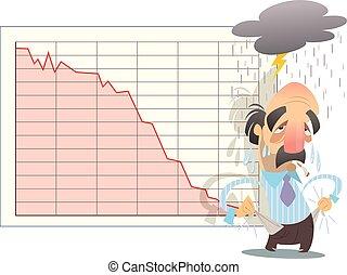 Financial market graph goes down in economy bankrupt crisis...