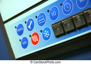 Industrial air conditioner controls detail, focus on cooling...