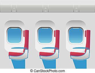 Aircraft cabin with portholes and seats. Vector...