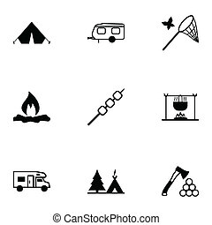 Vector black camping icons set on white background