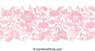Pink textile birds and flowers horizontal border seamless...