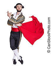 Male dressed as matador on a white background. Studio...