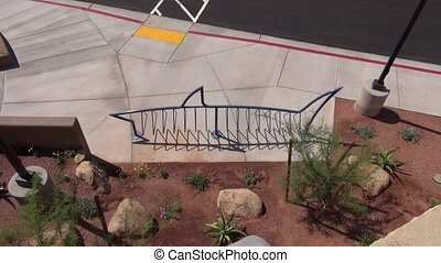 Shark Bike Rack - A top view of the shark shaped bike rack...