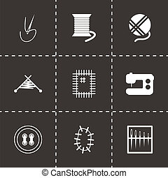 Vector black sewing icons set